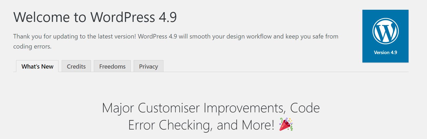 Welcome to WordPress 4.9